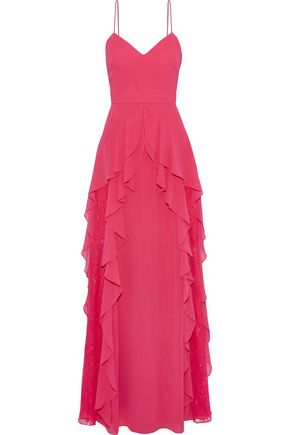 BADGLEY MISCHKA Lace-paneled ruffled georgette gown