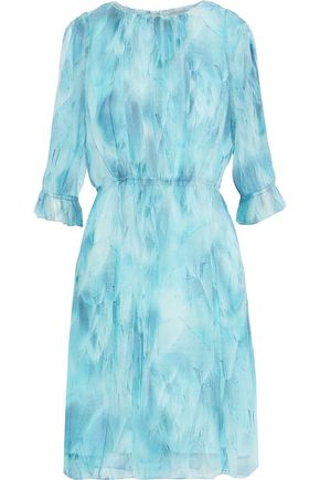 ELIE TAHARI Luciana pleated tie-dyed silk-chiffon dress