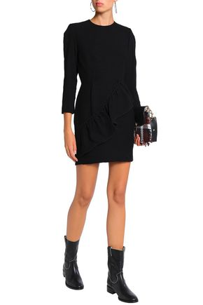 SANDRO Ruffled crepon mini dress