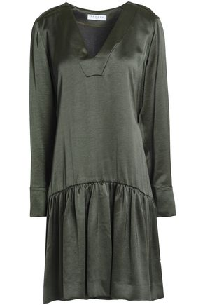 SANDRO_XX Gathered satin-crepe dress