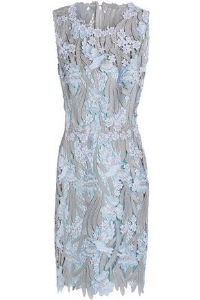 ELIE TAHARI Metallic guipure lace mini dress