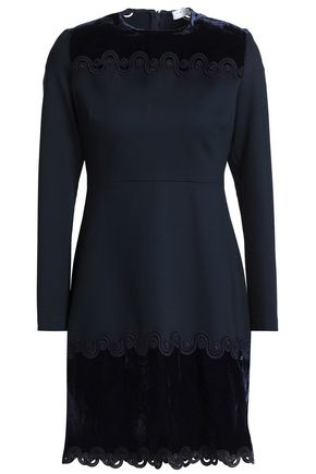 SANDRO Velvet-paneled jersey mini dress