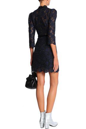 Velvet Trimmed Guipure Lace Mini Dress Sandro Sale Up To