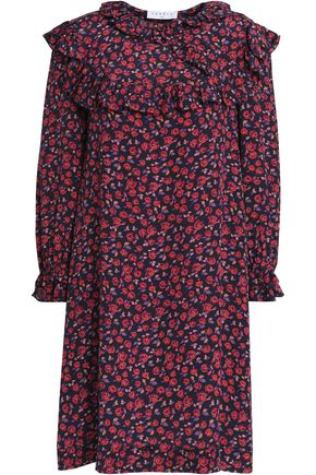 SANDRO_XX Ruffled floral-print silk crepe de chine mini dress