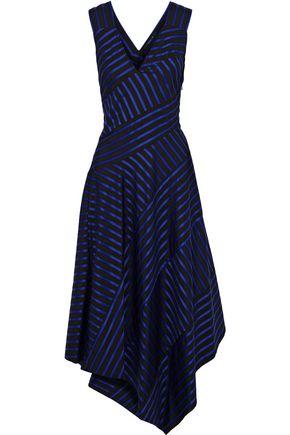 DEREK LAM Asymmetric striped cotton midi dress