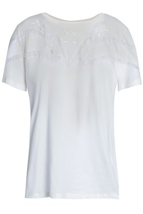 SANDRO_XX Lace-trimmed embroidered cotton-blend jersey top