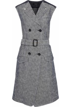 DEREK LAM Double-breasted two-tone cotton-chambray dress