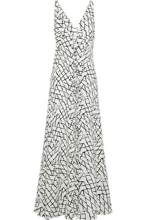 DEREK LAM Lace-up printed silk midi dress