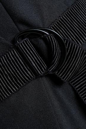 SANDRO Wrap-effect belted woven mini dress