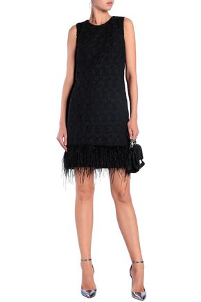 MIKAEL AGHAL Feather-trimmed guipure lace mini dress