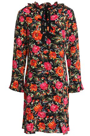 SANDRO Ruffled floral-print silk mini dress