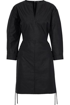 DEREK LAM Lace-up cotton-poplin mini dress