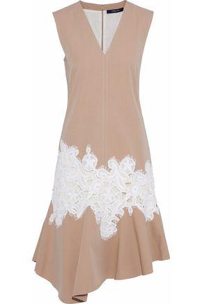 DEREK LAM Lace-appliquéd cotton-twill dress