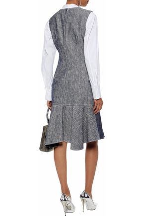 DEREK LAM Fluted two-tone chambray dress