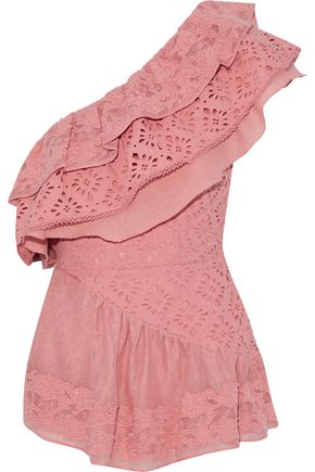 LOVE SAM One-Shoulder Broderie Anglaise, Gauze And Embroidered Woven Cotton Top in Bubblegum