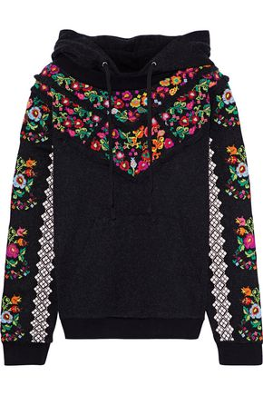 NEEDLE & THREAD Cross Stitch Flower embroidered French cotton-blend terry hoodie