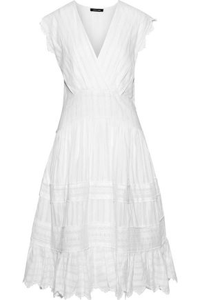 LOVE SAM Metallic embroidered cotton-blend gauze dress