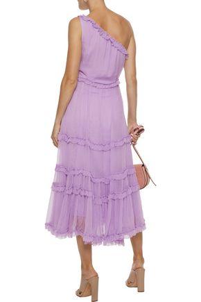 LOVE SAM Sadie one-shoulder ruffle-trimmed georgette midi dress