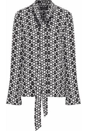 DEREK LAM Pussy-bow jacquard blouse