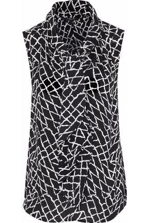 DEREK LAM Pussy-bow printed silk-crepe blouse