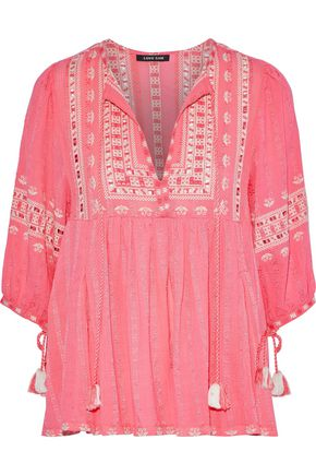 LOVE SAM Midsummer Peasant embroidered cotton-gauze blouse
