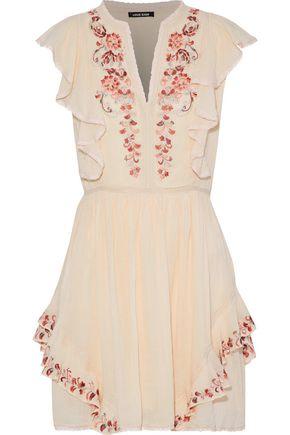 LOVE SAM Embellished cotton-gauze mini dress
