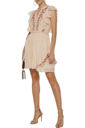 LOVE SAM Embellished cotton-gauze mini dress