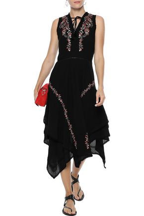 LOVE SAM Monika embellished cotton-gauze midi dress