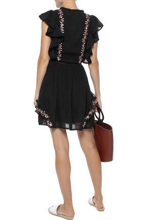 LOVE SAM Monika embellished cotton-gauze mini dress
