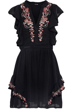 LOVE SAM Monika embellished cotton-gauze mini dress