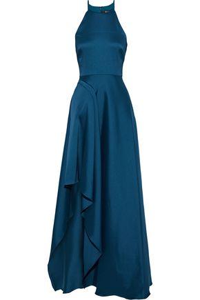 BADGLEY MISCHKA Satin-twill gown