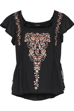 LOVE SAM Embellished cotton-gauze top