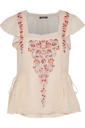 LOVE SAM Embellished cotton-gauze top