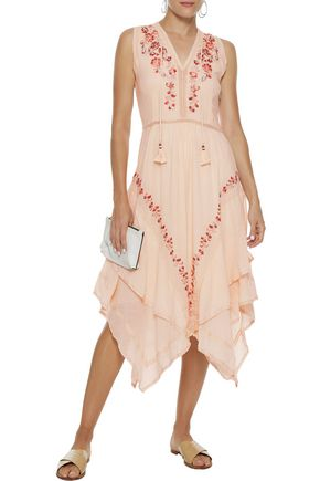 LOVE SAM Monika embellished cotton-gauze midi dress