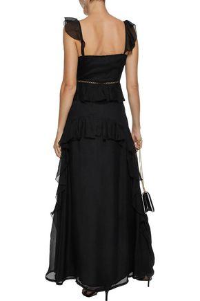 LOVE SAM Lattice-trimmed ruffled voile maxi dress