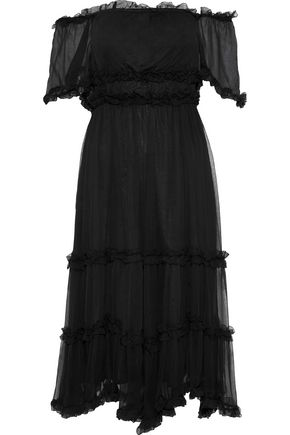 LOVE SAM Sadie off-the-shoulder ruffle-trimmed georgette dress
