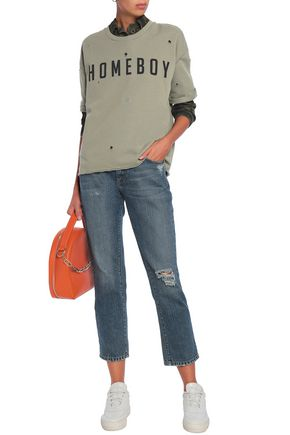 ZOE KARSSEN Distressed printed cotton sweatshirt
