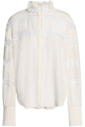 SANDRO Lace-trimmed silk crepe de chine blouse