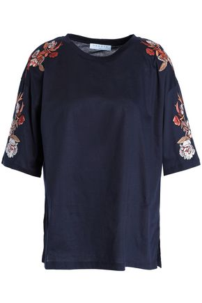 SANDRO_XX Embroidered cotton-jersey T-shirt