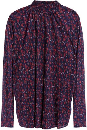 SANDRO Pleated floral-print voile blouse