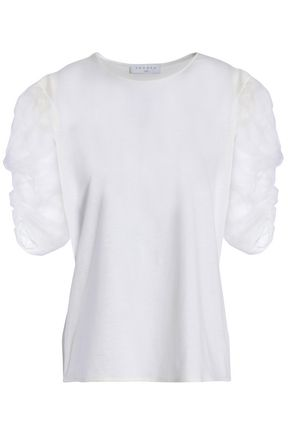 SANDRO Ruched organza and jersey T-shirt
