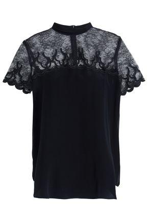 SANDRO Lace-paneled silk top