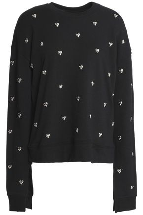 ZOE KARSSEN Studded French cotton-terry sweatshirt