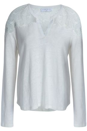 SANDRO_XX Lace-paneled linen top