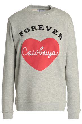 ZOE KARSSEN Embroidered printed French cotton-blend terry sweatshirt