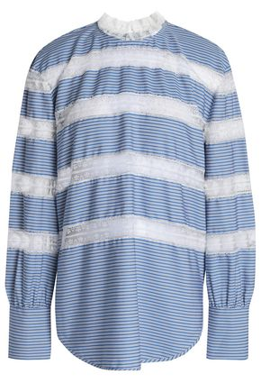 SANDRO Lace-trimmed striped poplin top