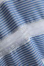 SANDRO Lace-trimmed striped poplin top