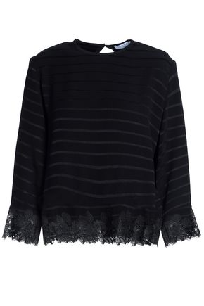 SANDRO Lace-trimmed jacquard top