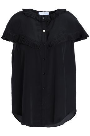 SANDRO Ruffled silk crepe de chine shirt