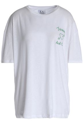 ZOE KARSSEN Embroidered slub linen and cotton-blend T-shirt